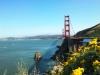 auf Stadtrundfahrt am Vista Point mit Blick auf die Brücke, Bucht und die Stadte